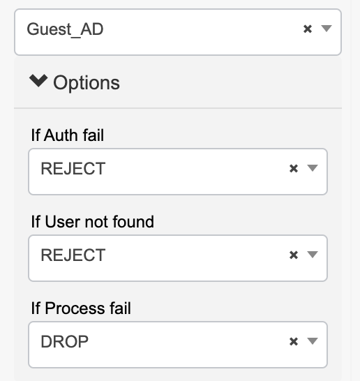 Guest and AD authentication policy