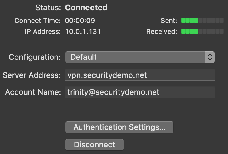 OSX Meraki MX vpn connected