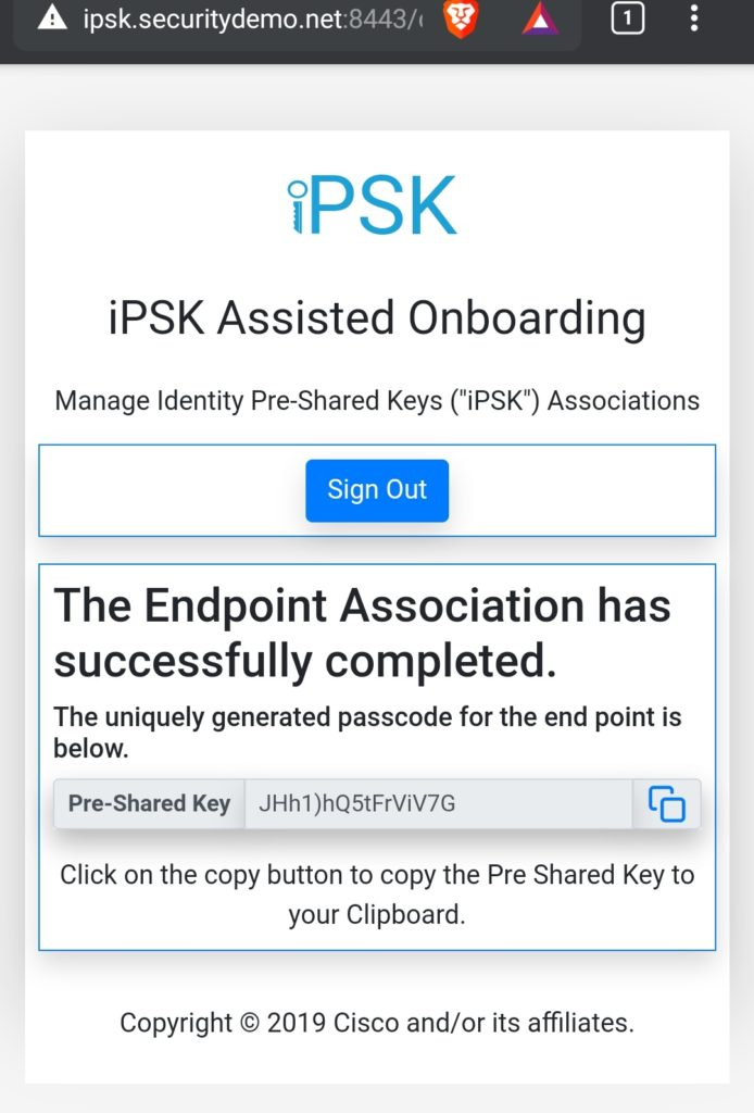iPSK device successfully onboarded