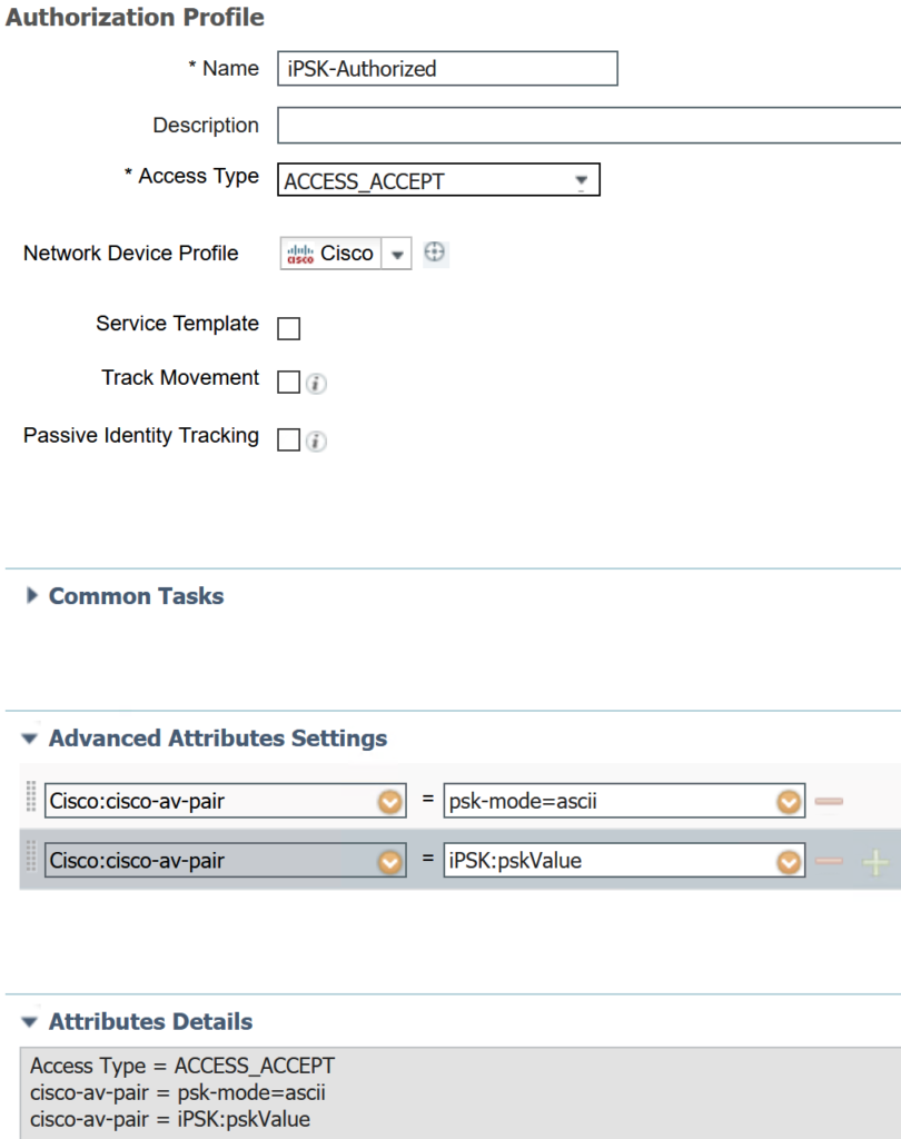 iPSK authorization profile for authorized device