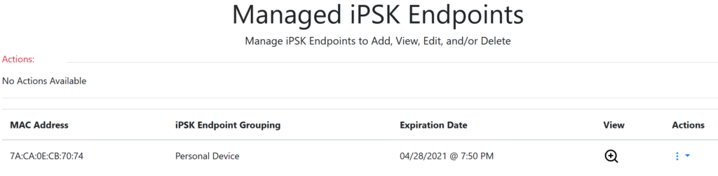 iPSK Manager endpoint list