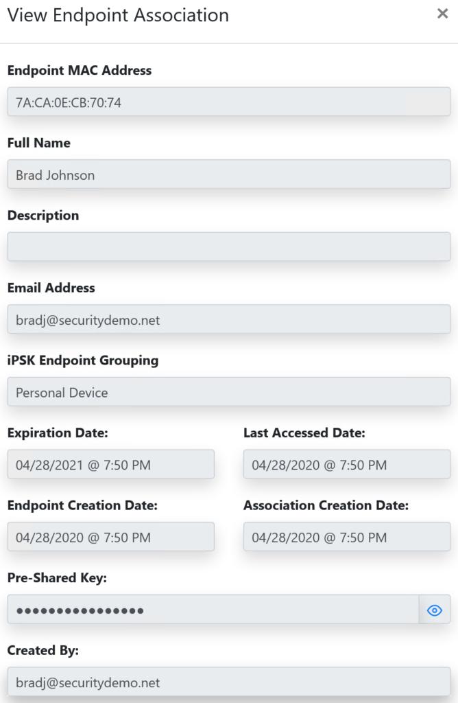 iPSK Manager endpoint details