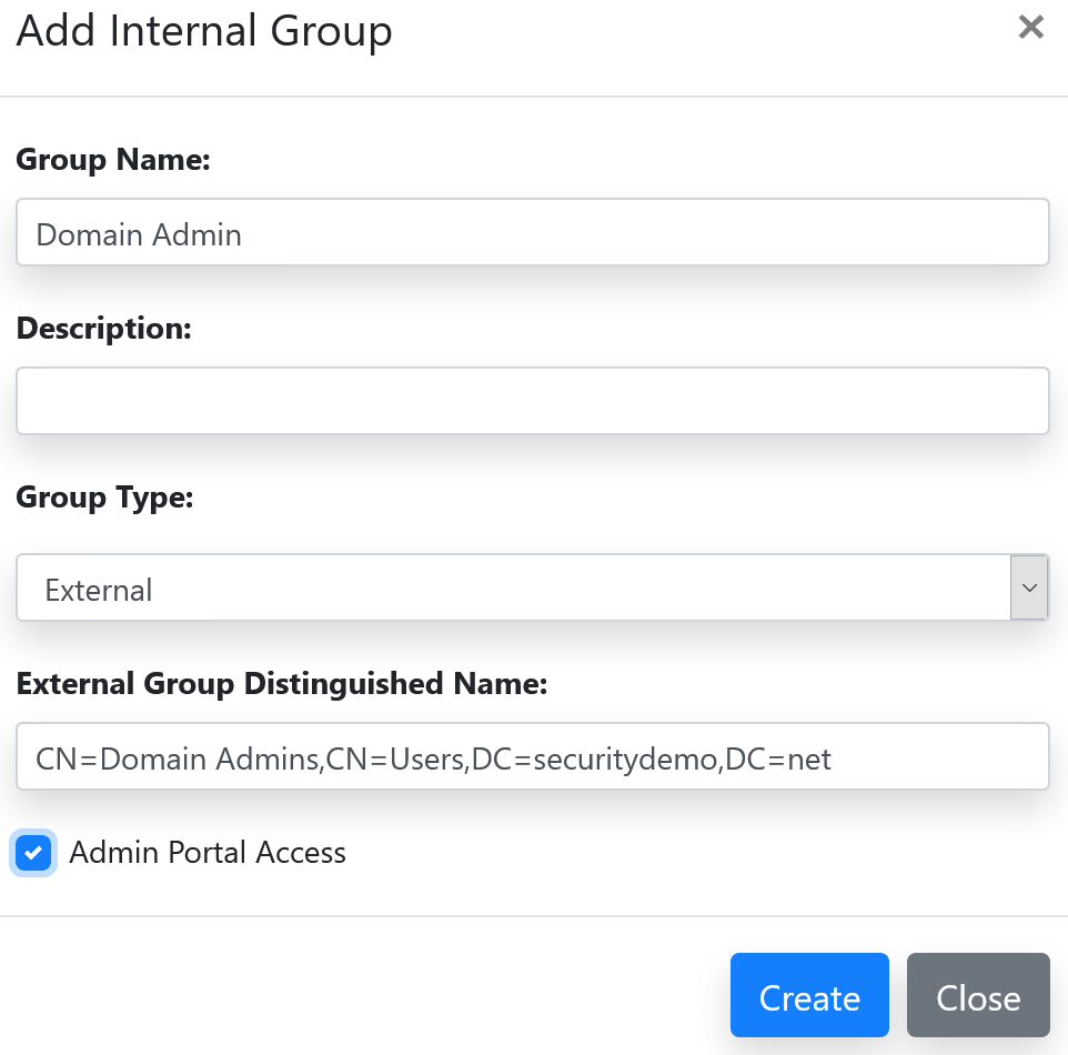 Domain admin group access to admin portal