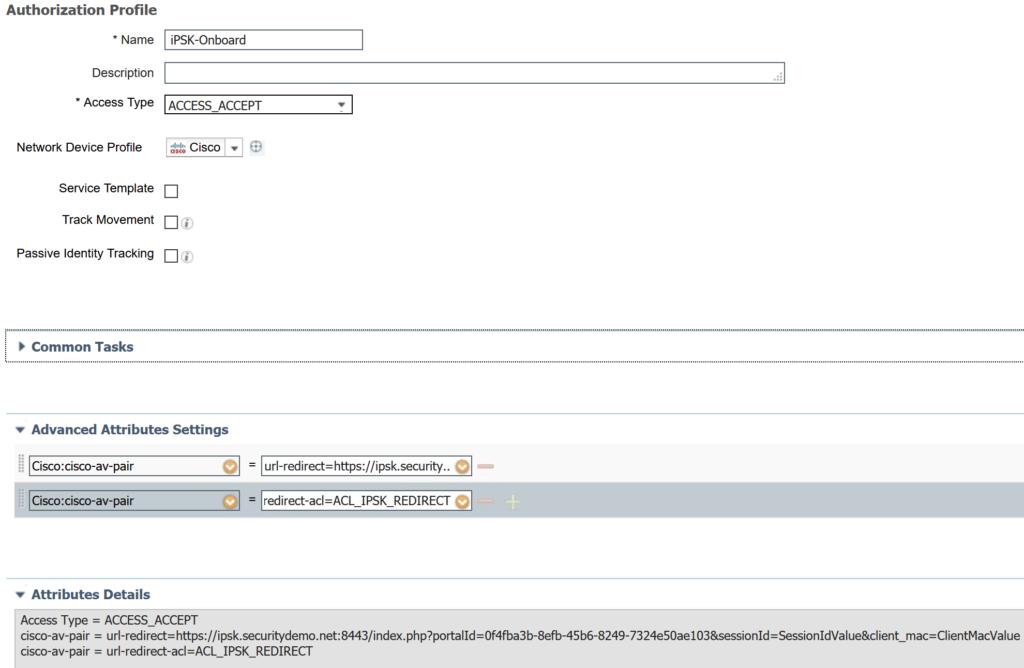iPSK onboarding authorization profile