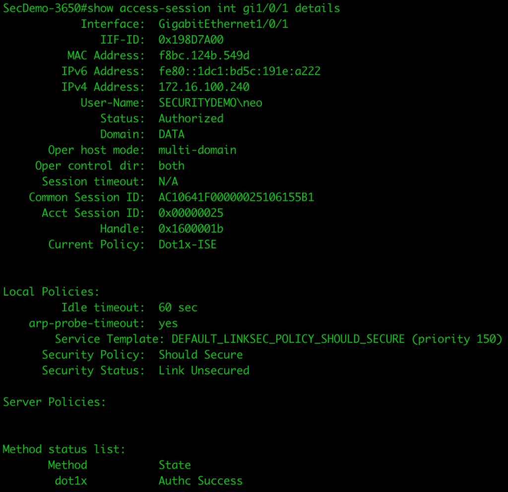 CLI showing access session details for client authenticating against ISE deployment.