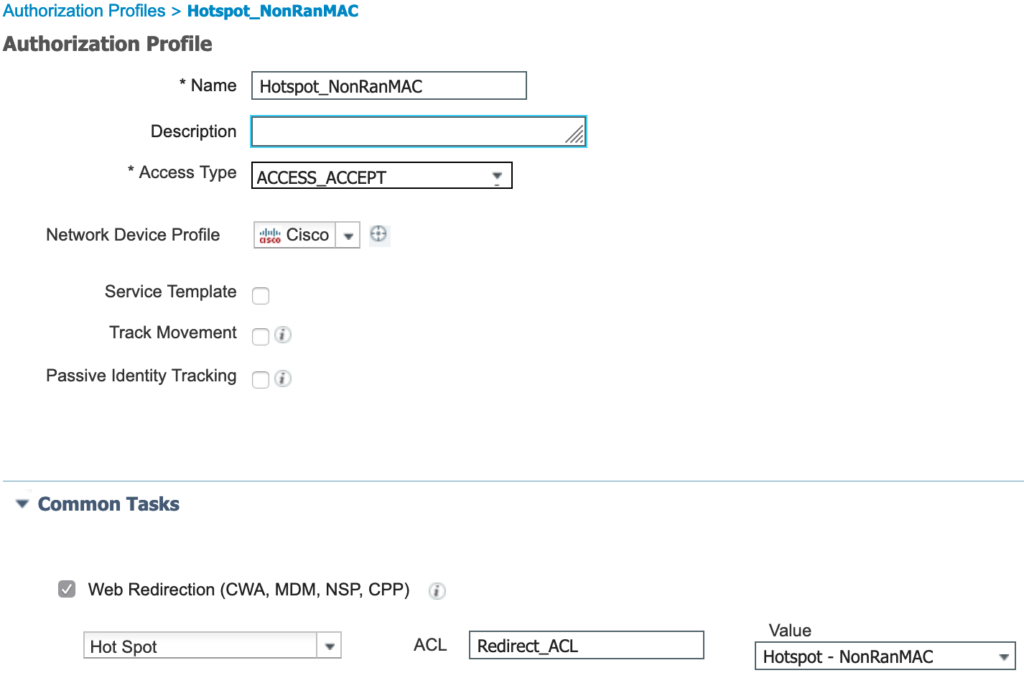 Authorization profile for devices not using a randomized MAC address