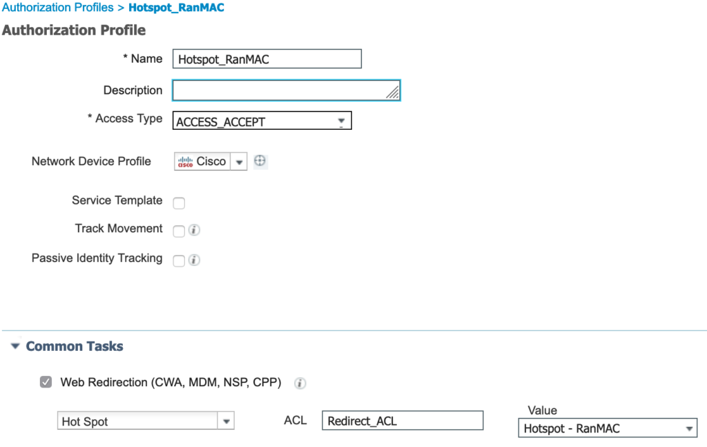 Authorization profile for devices using a randomized MAC address