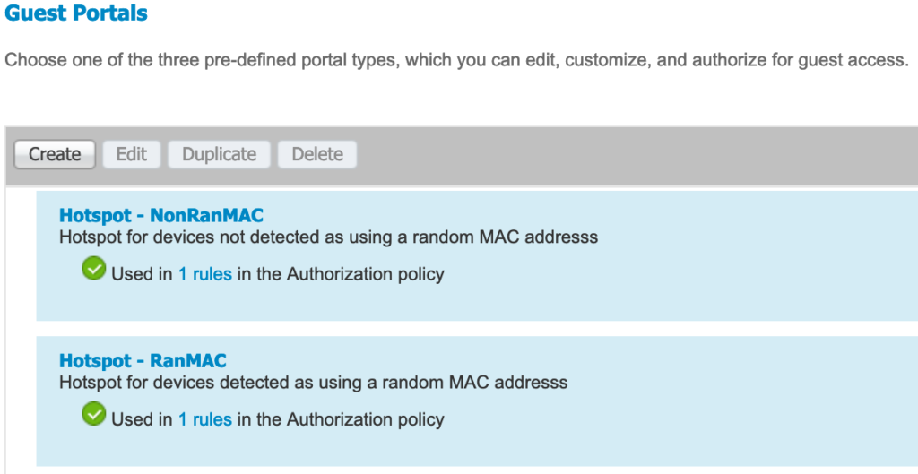 Guest portal summary screen