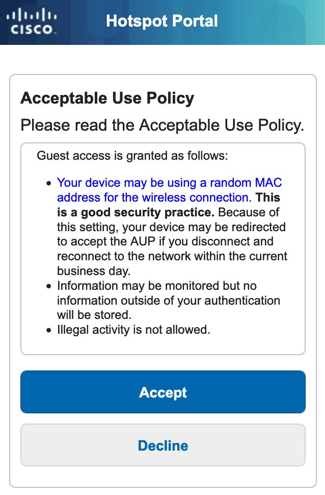 Hotspot portal page if the device is using a randomized MAC address