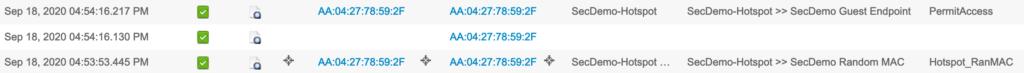 Live Log entries showing flow when random MAC detected