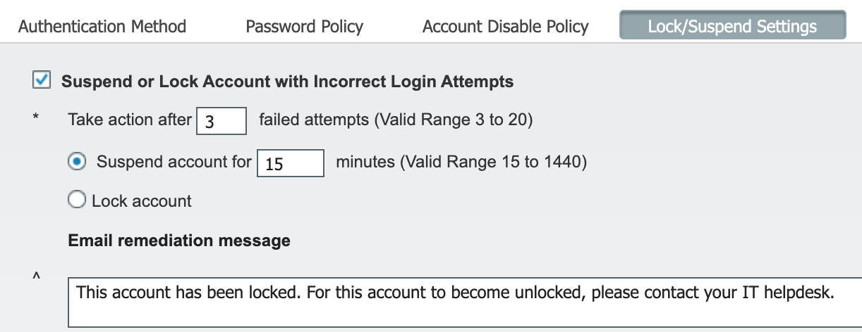 Lock/Suspend settings screen