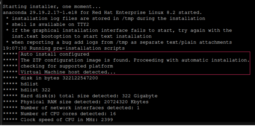 Cisco ISE 3.1 installation started, ZTP configuration image found, and VM host detected