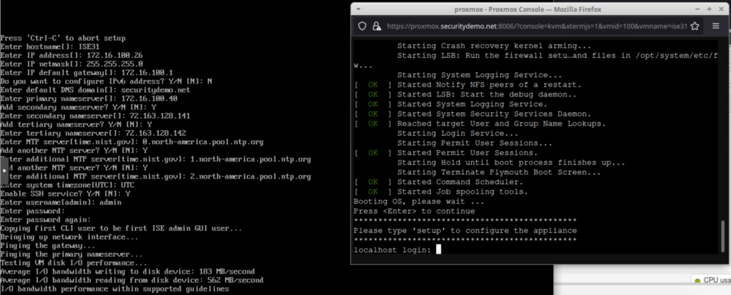 Screenshot showing VM console (right) and VM serial console (left) output during setup using ZTP image.