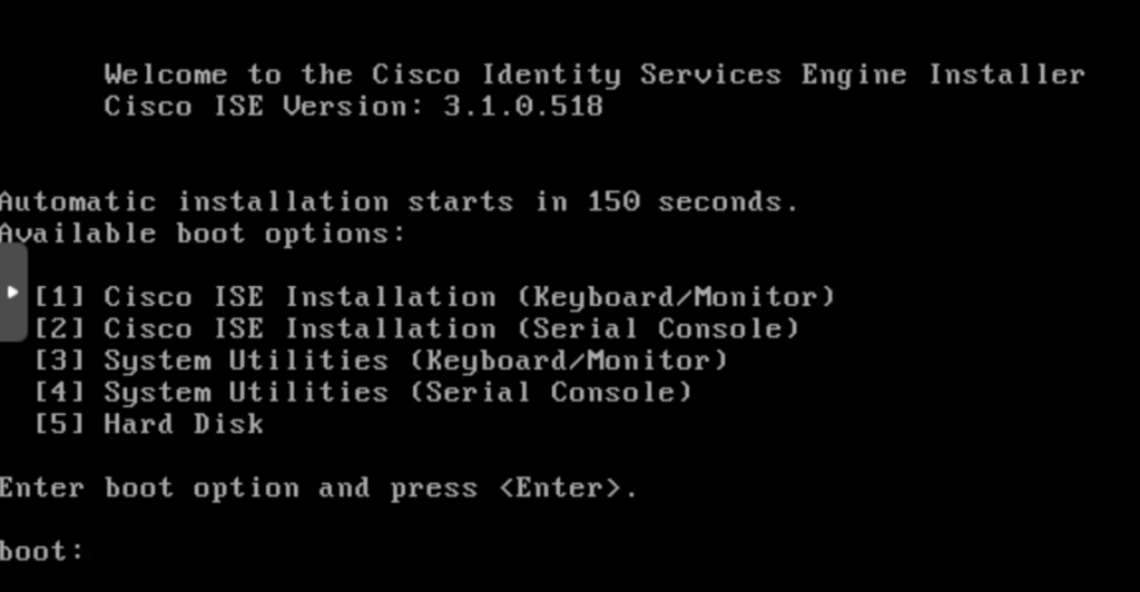 Cisco ISE installer boot options via the console